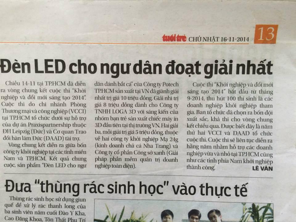 Tuổi trẻ đăng tin về giải nhất của POTECH về Đèn LED cho ngư dân 1