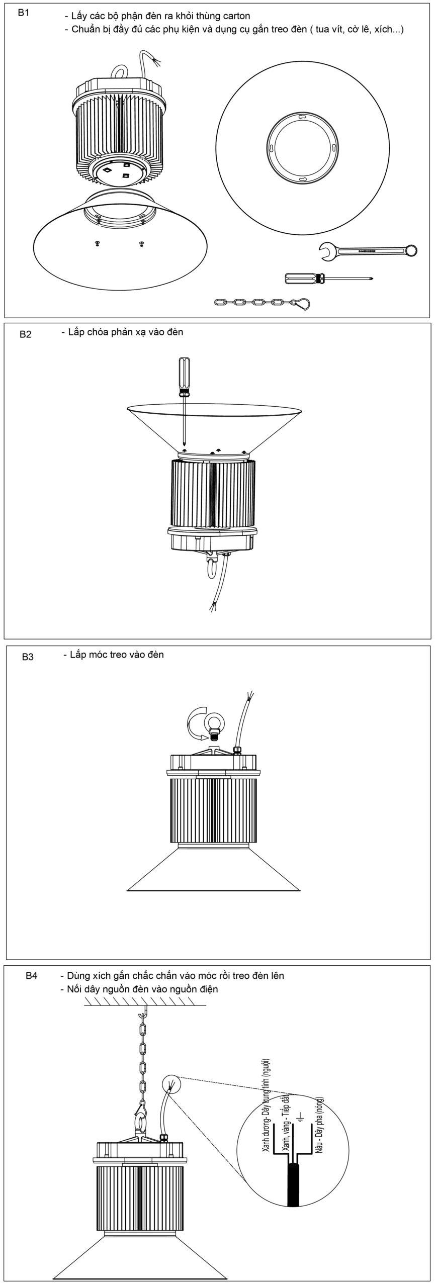 Hướng dẫn lắp đặt đèn LED nhà xưởng 150W POTECH