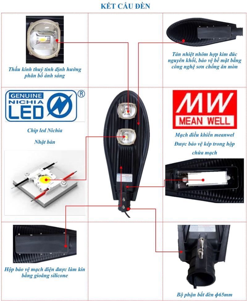 Kết cấu đèn đường LED 100W