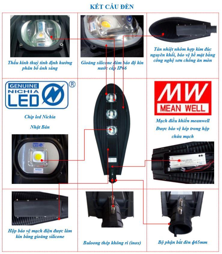 Kết cấu đèn đường LED POTECH 120W - 150W