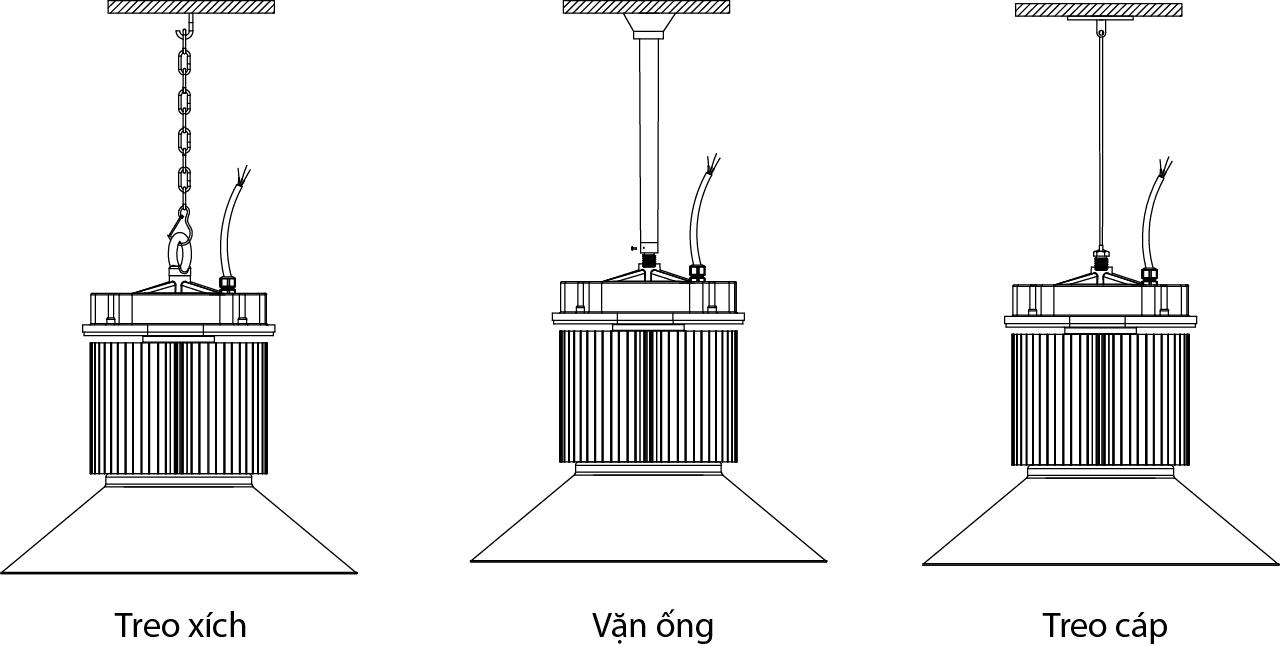 Kiểu treo đèn PT-HBL-150 POTECH