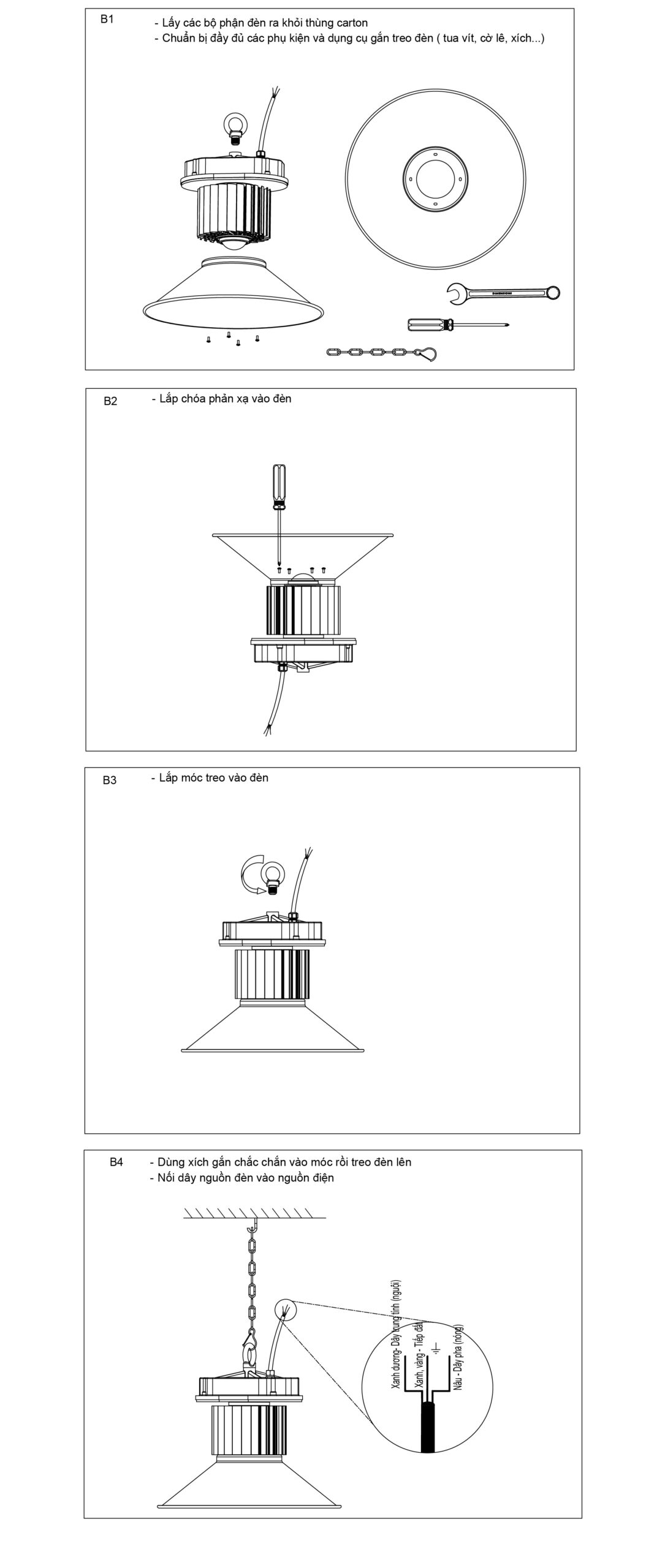 Lắp đặt đèn HLB-80-100-120 POTECH
