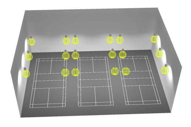 Bố trí thiết kế đèn 3D sân cầu lông