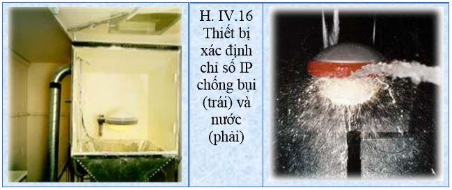 Thiết bị xác định chỉ số IP chống bụi (trái) và nước (phải)