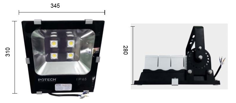 Kích thước đèn pha LED 150W