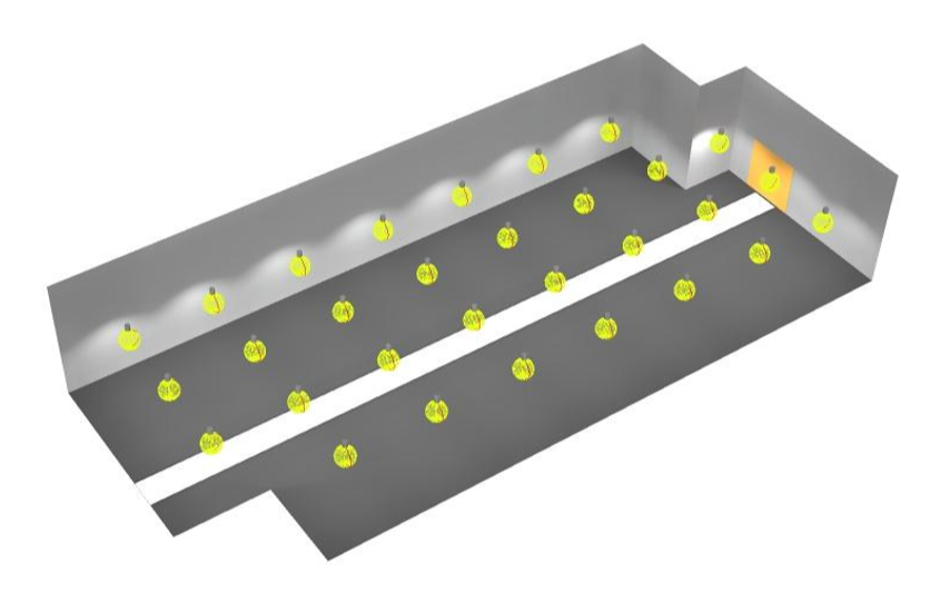 Mô phỏng 3D bố trí đèn LED nhà xưởng Bông Bạch Tuyết