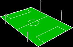 Sân bóng đá bố trí 4 cột đèn ở trung tâm