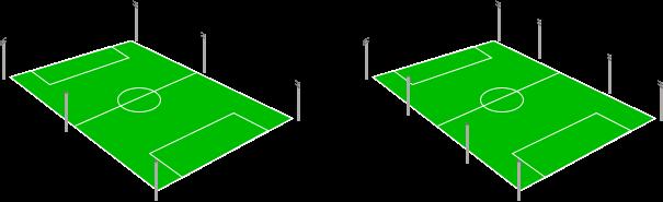 Sân bóng đá bố trí 6 - 8 cột đèn