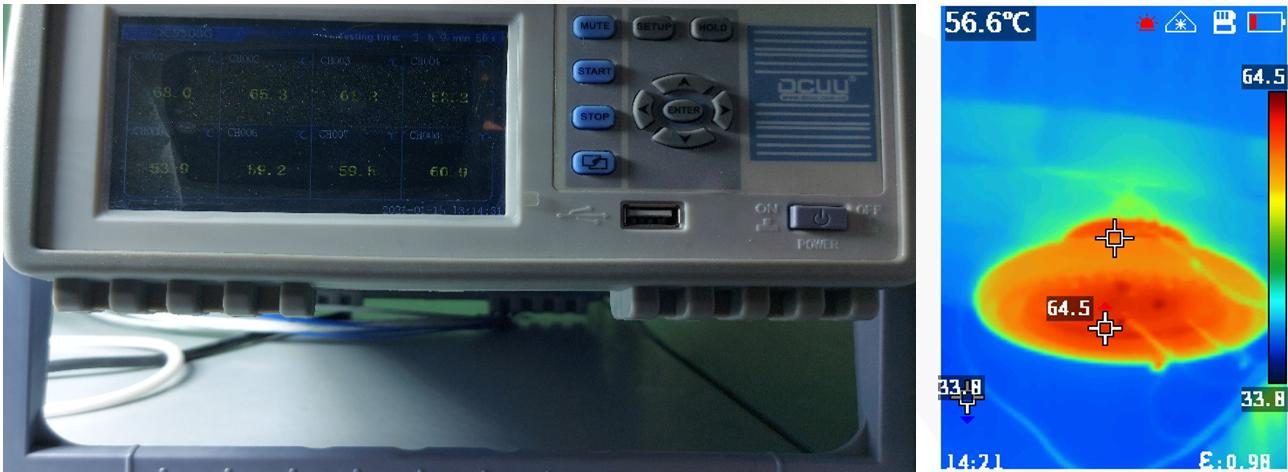 Đo nhiệt độ thực tế đèn LED nhà xưởng UFO 180W POTECH