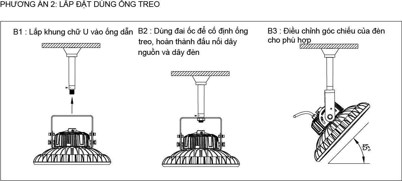 Phương án 2 lắp đặt đèn LED nhà xưởng UFO 120W 150W POTECH