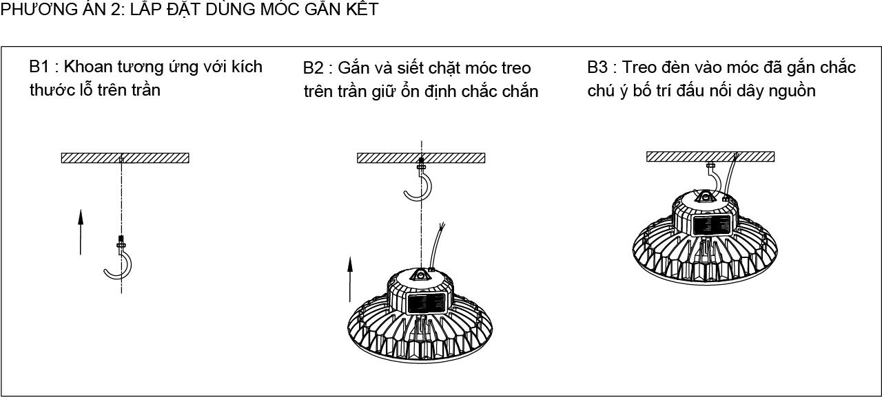 Phương án 2 lắp đặt đèn UFO POTECH