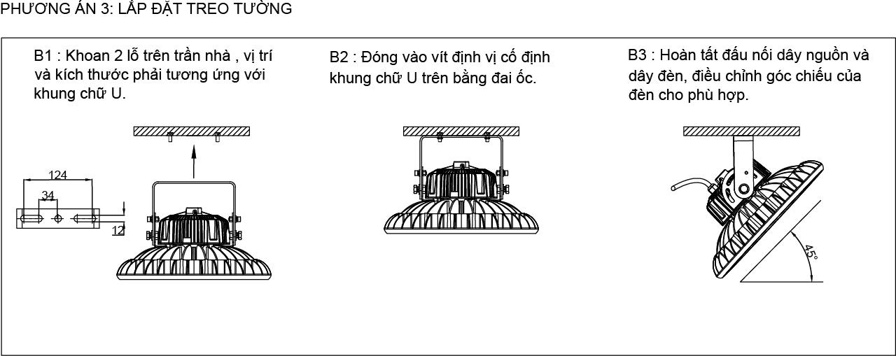 Phương án 3 lắp đặt đèn LED nhà xưởng UFO 80W 100W POTECH