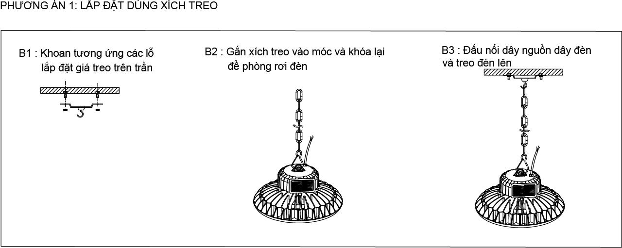 Phương án lắp đặt đèn UFO POTECH