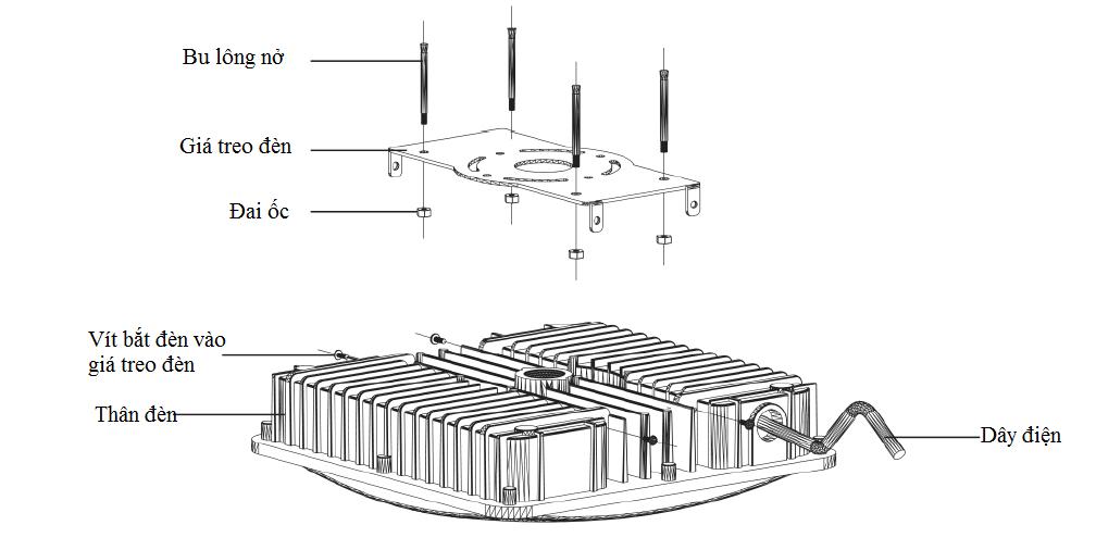 Hướng dẫn lắp đặt đèn LED Canopy 100W 120W